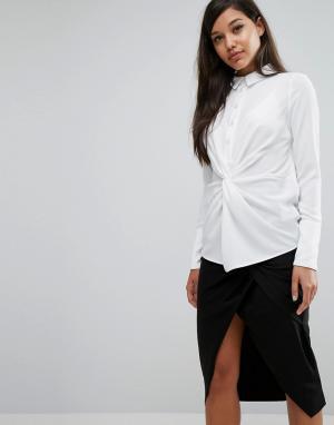 Lavish Alice Рубашка с перекрутом спереди. Цвет: белый