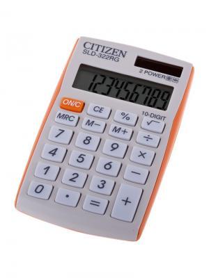 Калькулятор карманный SLD-322RG 10 разрядов, двойное питание, 64*105*9 мм, оранжевый CITIZEN. Цвет: оранжевый