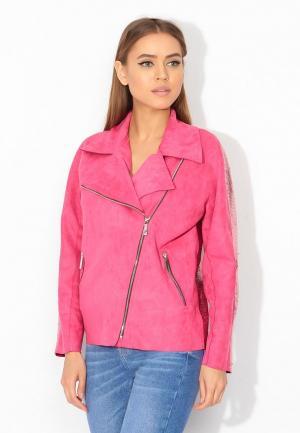 Куртка кожаная Tutto Bene. Цвет: розовый