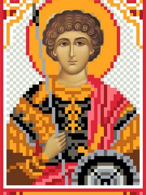 Рисунок на шелке Святой Георгий Победоносец Матренин Посад. Цвет: красный, оранжевый
