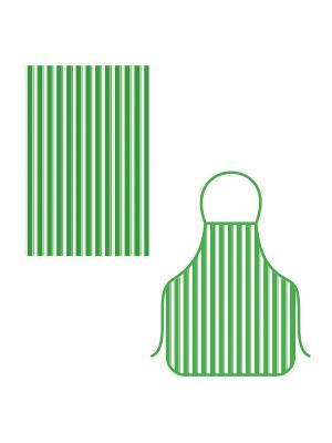 Набор фартук+полотенце Полоски МультиДом. Цвет: зеленый
