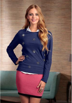Пуловер Y.O.U.. Цвет: темно-синий