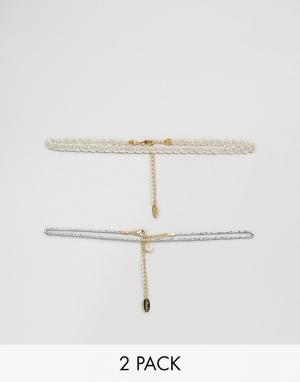 Orelia 2 ожерелья‑чокер Silver Moon. Цвет: серебряный