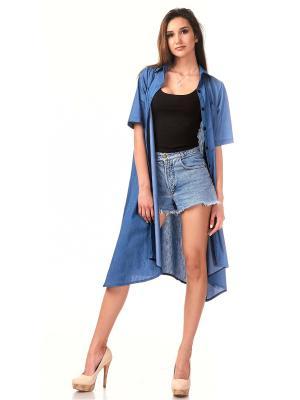 Рубашка Leya. Цвет: синий