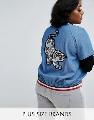 Elvi Бомбер из ткани шамбре с вышивкой тигра. Цвет: синий