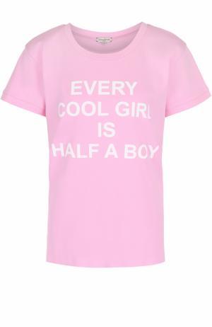 Хлопковая футболка с контрастным принтом Natasha Zinko. Цвет: розовый