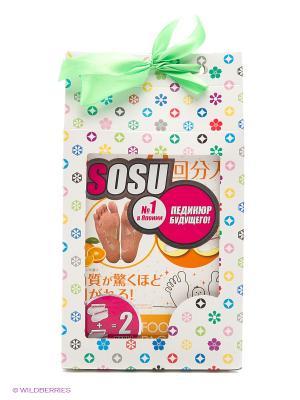 Носочки для педикюра с ароматом апельсина 2 пары в подарочной упаковке Кимоти SOSU. Цвет: прозрачный