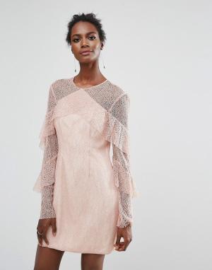 Keepsake Кружевное платье мини с оборками Wide Awake. Цвет: розовый
