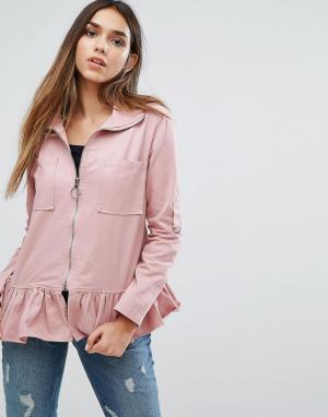 Missguided Куртка с оборкой по краю. Цвет: розовый