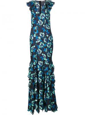 Длинное платье Josephine Zac Posen. Цвет: синий