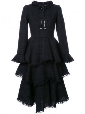Твидовое платье с оборками Huishan Zhang. Цвет: чёрный