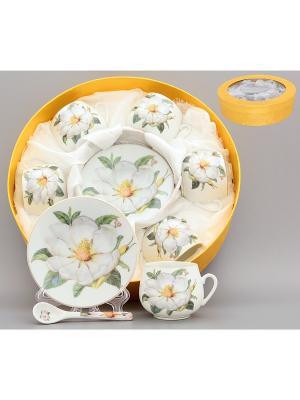 Кофейный набор Белый шиповник Elan Gallery. Цвет: белый, зеленый