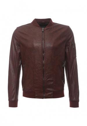 Куртка кожаная Forex. Цвет: бордовый