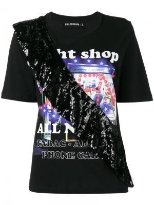 Night Shop T-Shirt with Sequin Frill Filles A Papa. Цвет: чёрный
