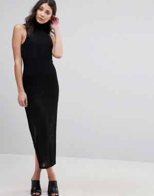 Unique 21 Прозрачное платье с высокой горловиной и короткой подкладкой. Цвет: черный