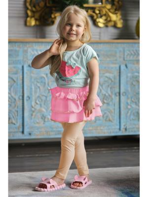 Леггинсы с юбкой Yuumi. Цвет: розовый, бежевый