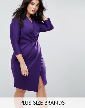 Closet Plus Платье-футляр с плиссировкой и запахом. Цвет: фиолетовый