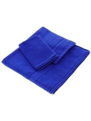Махровое полотенце синее в коробке Aisha. Цвет: синий