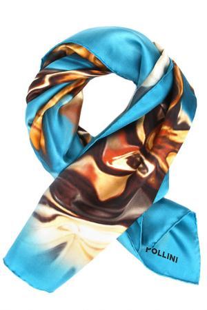 Платок Pollini. Цвет: голубой, бежевый, коричневый
