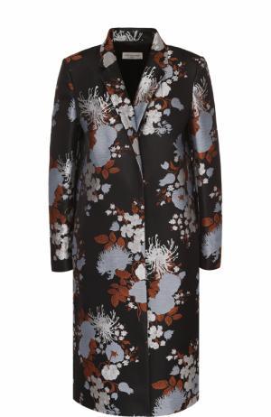 Пальто прямого кроя с цветочным принтом Dries Van Noten. Цвет: голубой