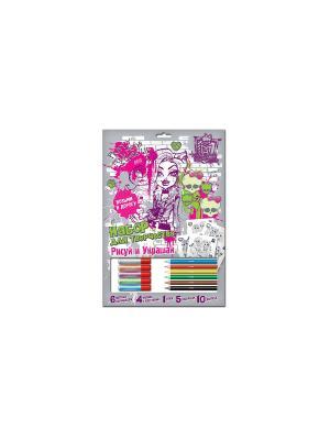 Набор рисуй и украшай Monster High глитерный клей Mattel. Цвет: серый
