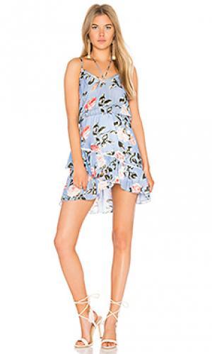 Мини платье с принтом love Karina Grimaldi. Цвет: синий