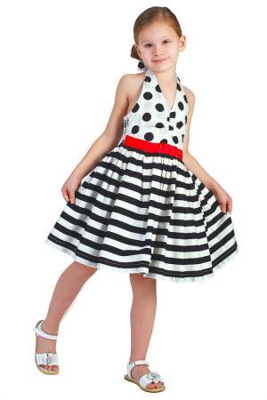 Платье Gulliver. Цвет: белый в горох, полоска