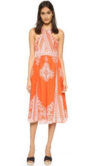 Миди-платье с перекрещенным лифом plenty by TRACY REESE. Цвет: «восход солнца»