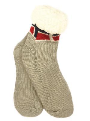 Носки-тапочки с мехом HOBBY LINE. Цвет: серый