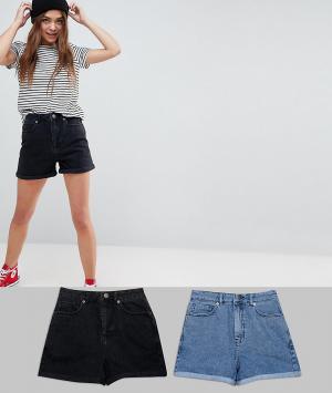 ASOS Комплект из 2 джинсовых шортов в винтажном стиле (черный/синий) D. Цвет: мульти