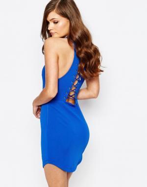 Ginger Fizz Облегающее платье со шнуровкой сзади. Цвет: синий