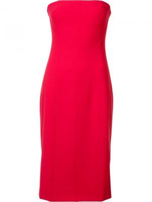Платье без бретелей с рельефной строчкой Elizabeth And James. Цвет: красный