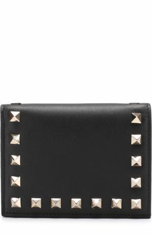 Кожаный кошелек с заклепками Valentino. Цвет: черный