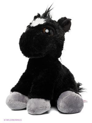 Игрушка мягкая Лошадка черная с большими глазами 30 см Aurora. Цвет: черный, темно-серый