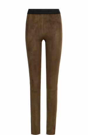 Замшевые брюки DROMe. Цвет: хаки