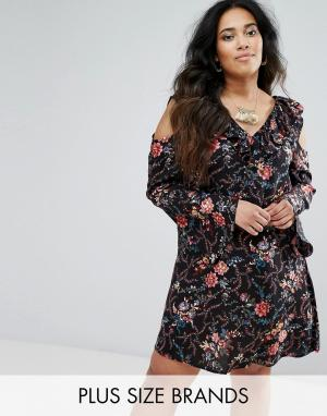 Diya Платье с цветочным принтом и вырезами на плечах. Цвет: черный