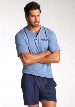 Пижама с шортами Arizona. Цвет: синий меланжевый/темно-синий