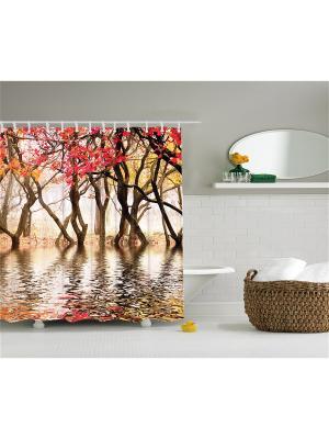 Фотоштора для ванной Разноцветные зонтики, фиолетовые орхидеи, жёлто-красные деревья, ракушка на п Magic Lady. Цвет: красный, желтый, белый, коричневый