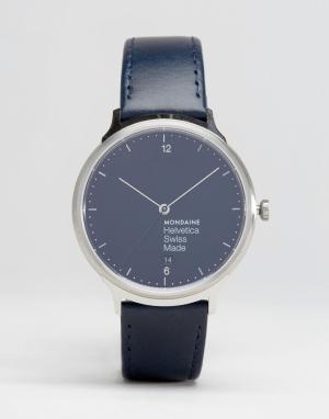 Mondaine Серебристые часы с темно-синим ремешком Helvetica No1 38mm. Цвет: темно-синий