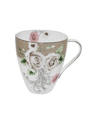 Кружка  Роза квадро Elff Ceramics. Цвет: белый, бежевый