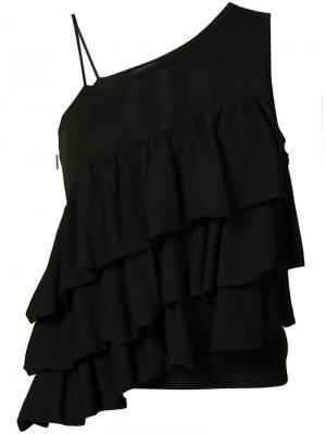 Асимметричная блуза с рюшами Co. Цвет: чёрный