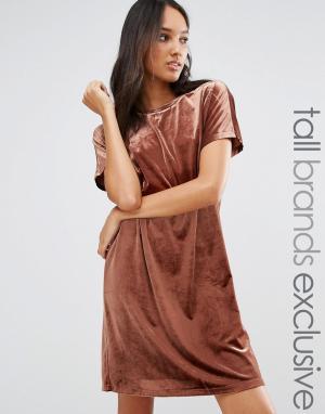 One Day Tall Цельнокройное бархатное платье мини. Цвет: коричневый