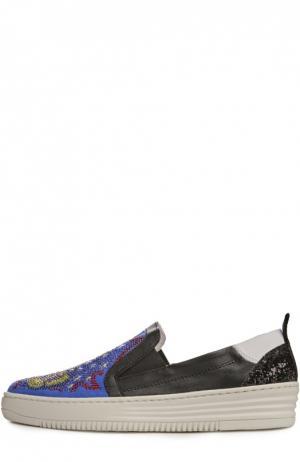 Текстильные слипоны с глиттером и стразами Baldan. Цвет: разноцветный