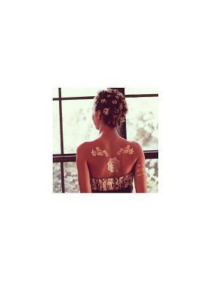Золотая временная переводная татуировка Кружева МнеТату. Цвет: золотистый