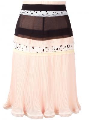 Плиссированная юбка со вставкой Carven. Цвет: телесный