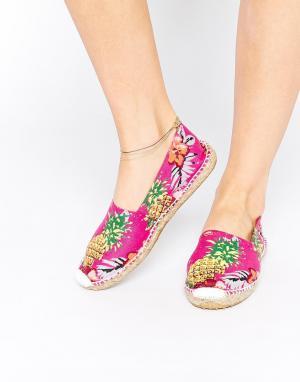 OAS Эспадрильи-слипоны на плоской подошве с ананасами и цветами. Цвет: мульти