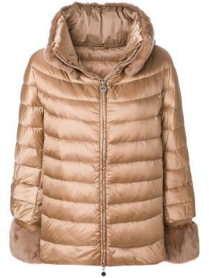 Пуховая куртка свободного кроя с капюшоном кроличьим мехом Hetregò. Цвет: металлический