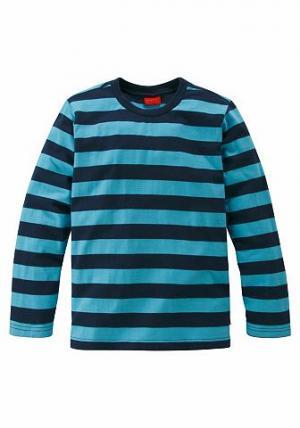 , футболка с длинным рукавом, в полоску, для мальчиков CFL. Цвет: бирюзовый с синим морским