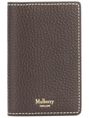 Удлиненный кошелек для карт Mulberry. Цвет: коричневый