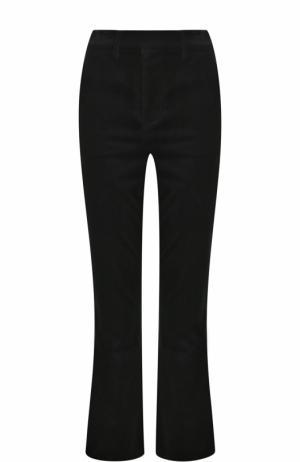 Бархатные расклешенные брюки Frame Denim. Цвет: черный